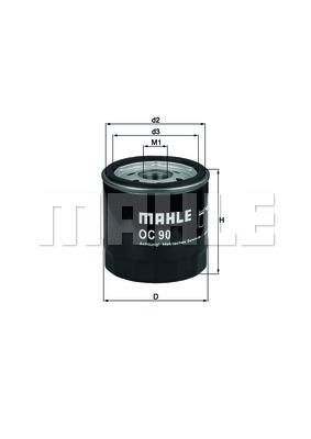 Фильтр масляный, MAHLE ORIGINAL, OC90OF