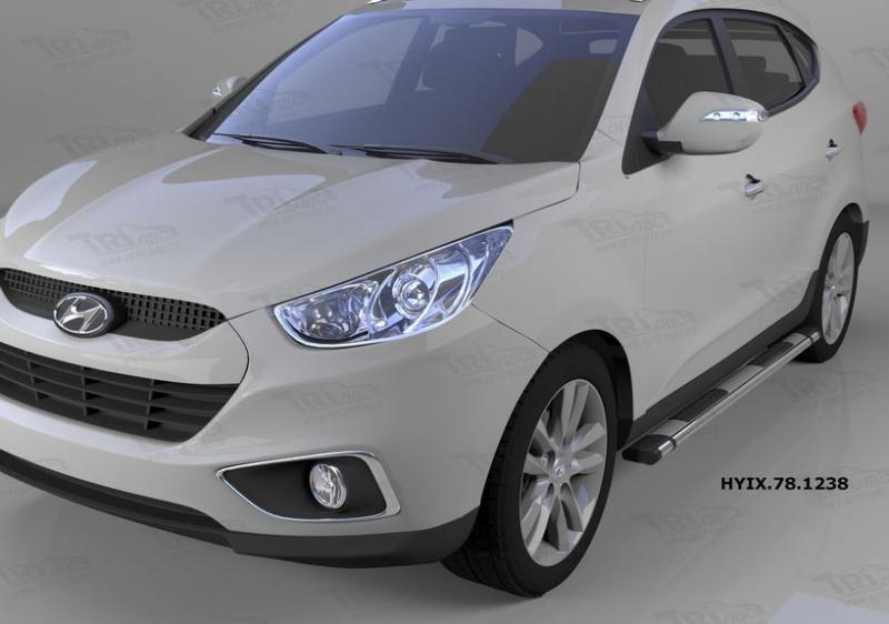 Пороги алюминиевые (Emerald silver ) Hyundai IX-35 (2009-2015)/ Kia Sportage (Киа Спортаж) III (2010