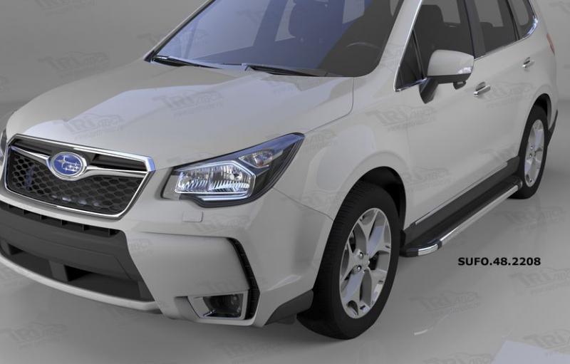 Пороги алюминиевые (Brillant) Subaru Forester (2013-) (черн/нерж), SUFO482208