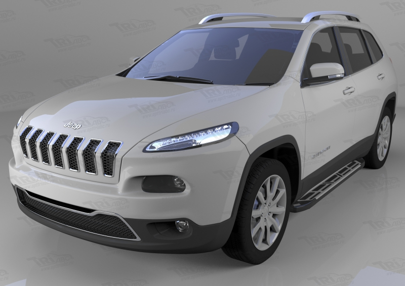 Пороги алюминиевые (Corund Silver) Jeep Cherokee Trailhawk (2014-), JECH531428