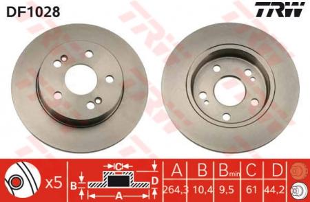 Диск тормозной задний, TRW, DF1028