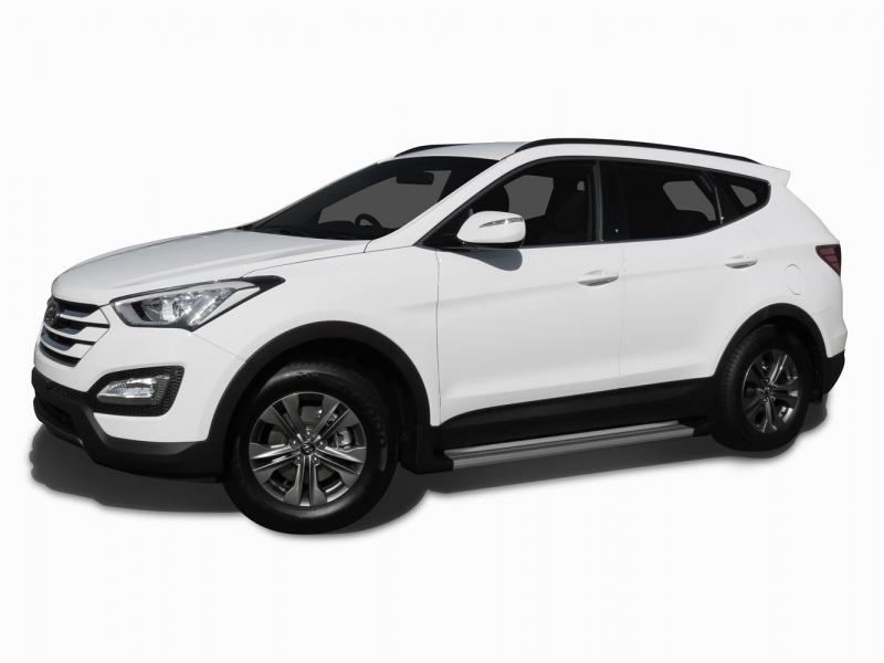 Пороги алюминиевые Hyundai SANTA FE (2012 - 05.2013) EGR (серебр), ISSSANTAFE2013
