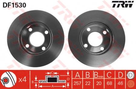 Диск тормозной передний, TRW, DF1530