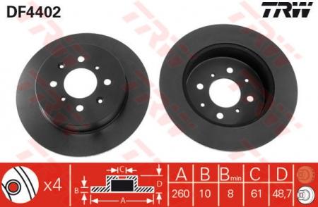 Диск тормозной задний, TRW, DF4402
