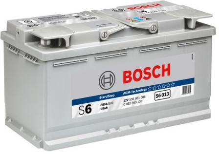Аккумуляторная батарея Bosch S6 AGM, 12 В, 95 А/ч, 850 А, 0092S60130