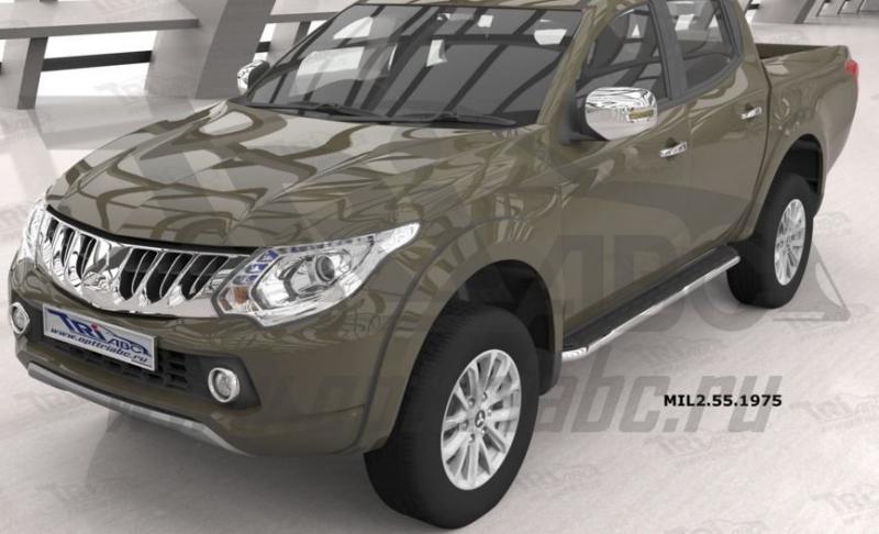 Пороги алюминиевые (Ring) Mitsubishi L200 (2006-2013 / 2014- / 2015-), MIL2551975