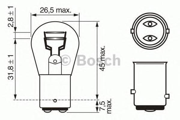 Лампа Trucklight, 24 В, 21/5 Вт, P21/5W, BAY15d, BOSCH, 1 987 302 524