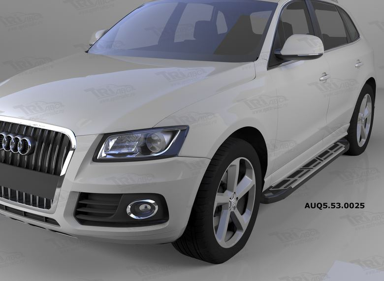 Пороги алюминиевые (Corund Silver) Audi (Ауди) Q5 (2009-), AUQ5530025