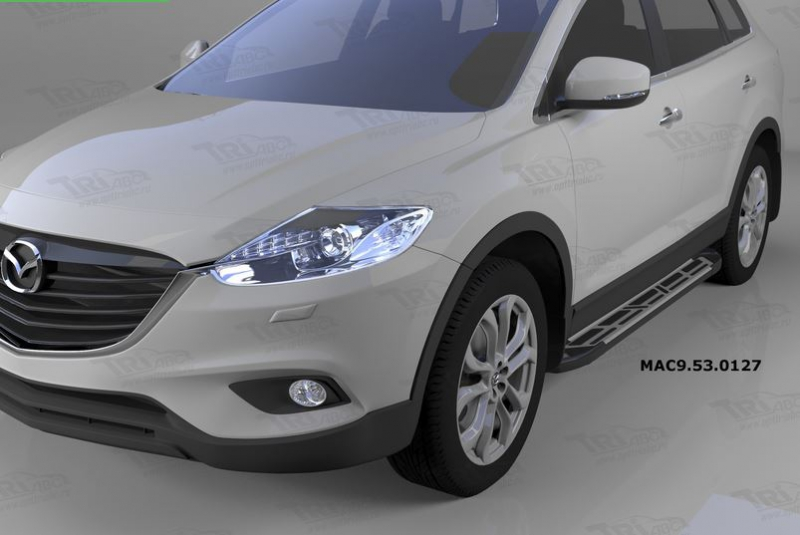 Пороги алюминиевые (Corund Silver) Mazda (Мазда) CX9 (2013-), MAC9530127