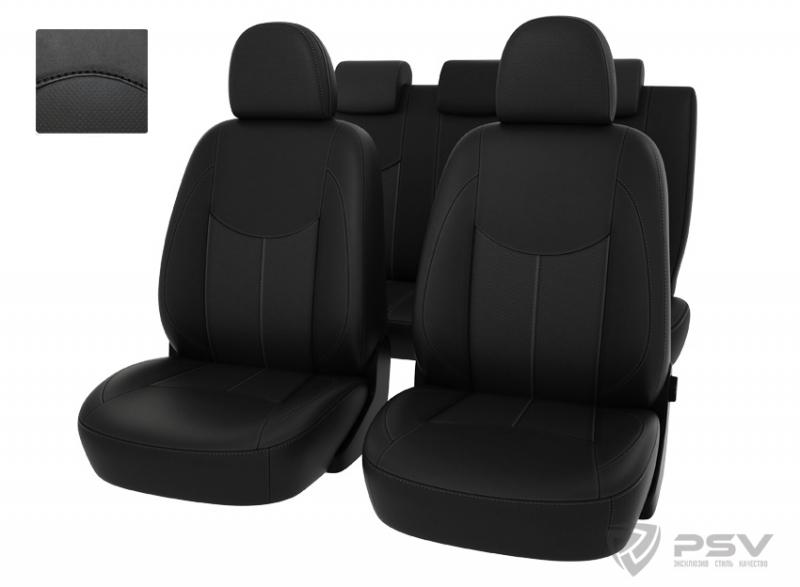 """Чехлы Datsun On-Do 14-> дел. черный/отстрочка черная, экокожа, """"Оригинал"""", 124631"""