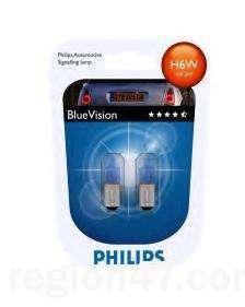 """Лампа """"BlueVision"""", 12 В, 6 Вт, H6W, BAX9s, PHILIPS, 12036 BVB2"""