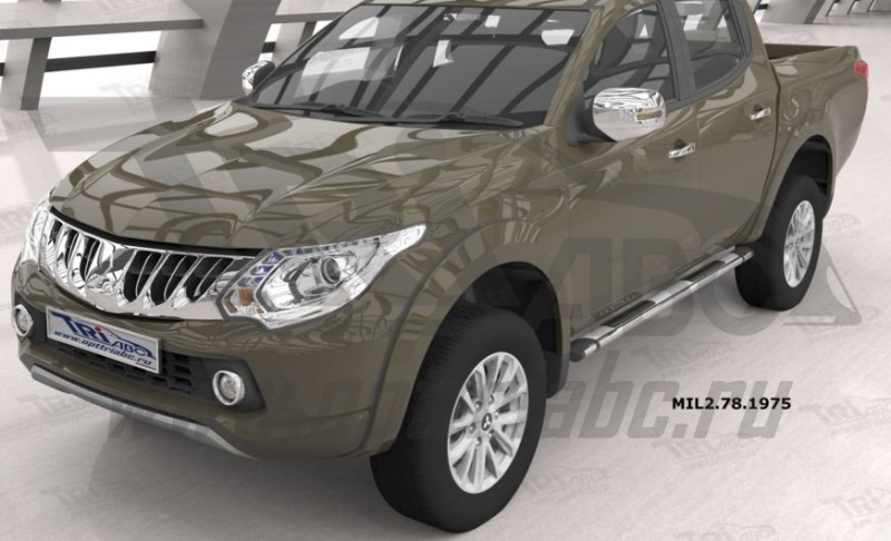 Пороги алюминиевые (Emerald silver ) Mitsubishi L200 (2006-2013/2014- / 2015-), MIL2781975