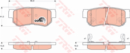 Колодки дисковые Задние, TRW, GDB3284