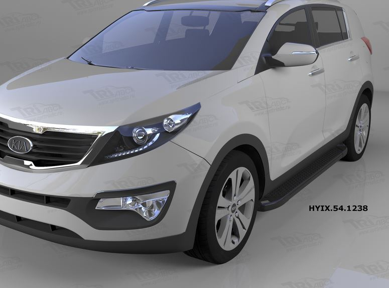 Пороги алюминиевые (Sapphire Black) Hyundai IX-35 (2009-2015)/ Kia Sportage (Киа Спортаж) III (2010-