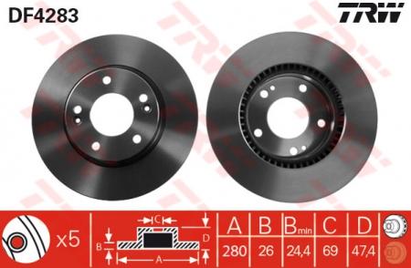 Диск тормозной передний, TRW, DF4283