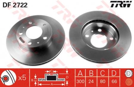 Диск тормозной передний, TRW, DF2722