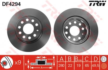 Диск тормозной передний, TRW, DF4294