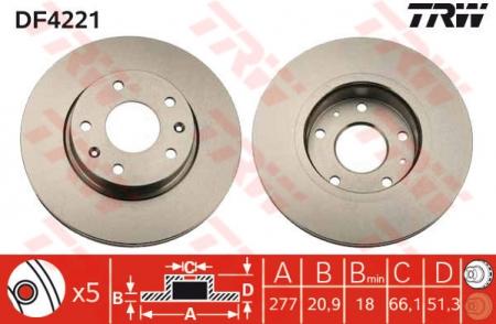 Диск тормозной передний, TRW, DF4221
