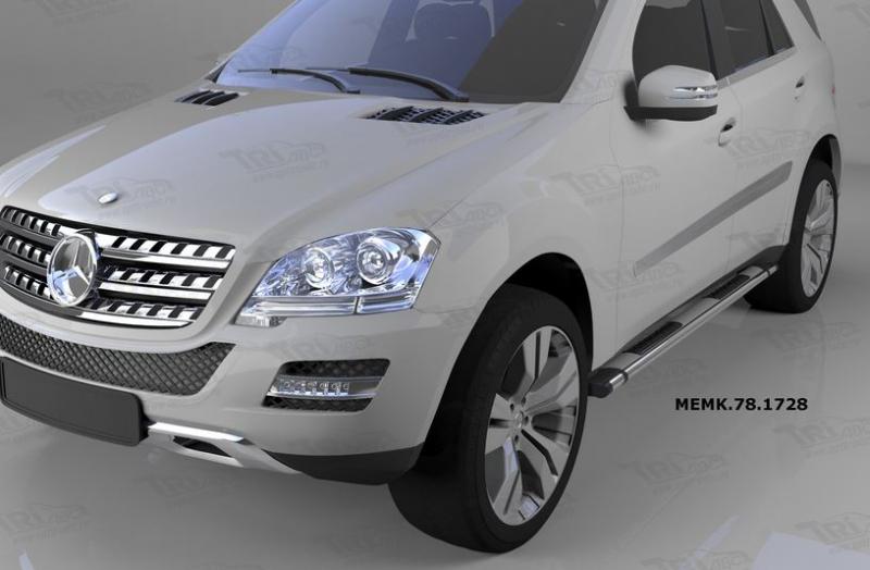 Пороги алюминиевые (Emerald silver ) Mercedes ML W164 (2006-2011), MEMK781728