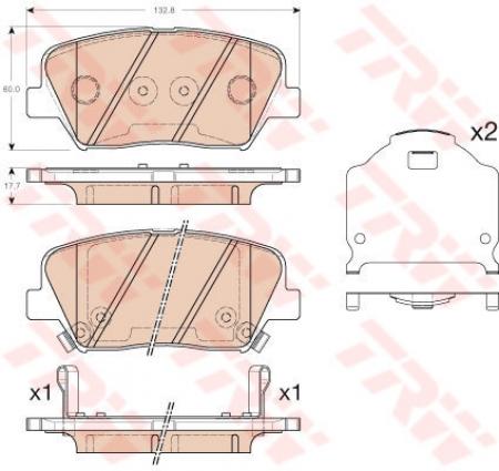 Колодки дисковые Передние, TRW, GDB3549