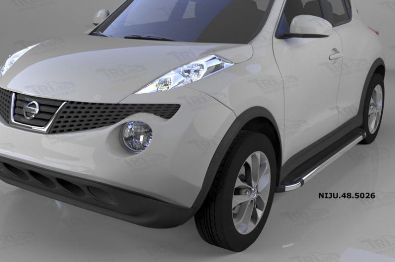 Пороги алюминиевые (Brillant) Nissan Juke (2011-) (черн/нерж), NIJU485026