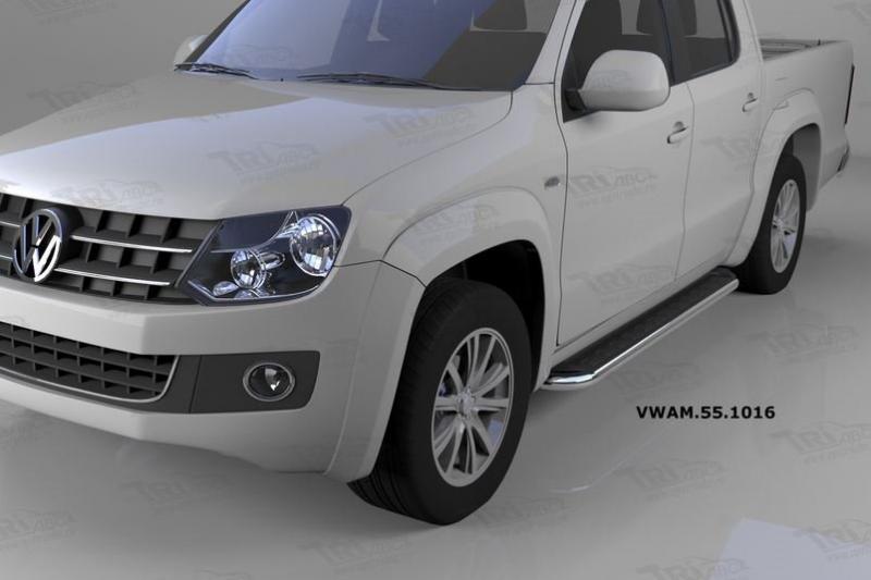 Пороги алюминиевые (Ring) Volkswagen Amarok (Амарок) (2010-), VWAM551016