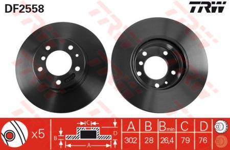 Диск тормозной передний, TRW, DF2558