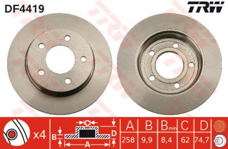 Диск тормозной задний, TRW, DF4419