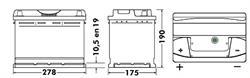 Аккумулятор TUDOR Technica 74 А/ч TB741. 278x175x190 EN 680