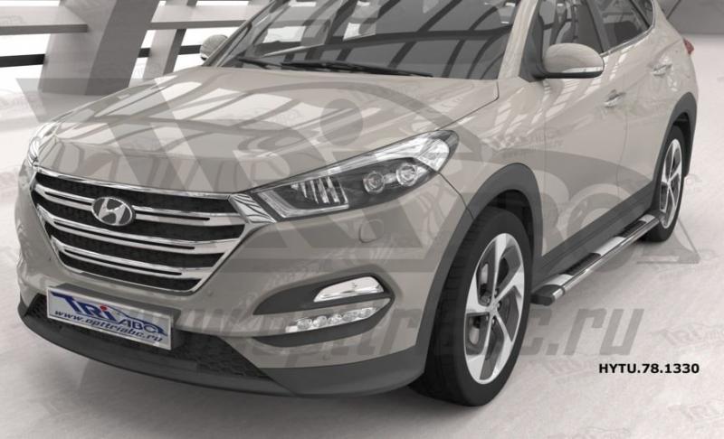 Пороги алюминиевые (Emerald silver ) Hyundai Tucson (2015-) / Kia Sportage (2016-), HYTU781330