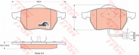 Колодки дисковые Передние, TRW, GDB1049