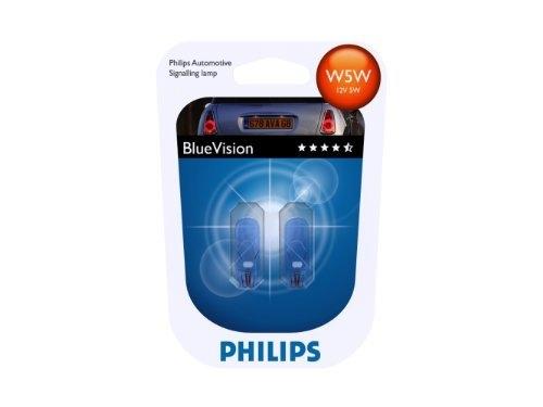 "Лампа ""BlueVision"", 12 В, 5 Вт, W5W, W2,1x9.5d, PHILIPS, 12961 BVB2"