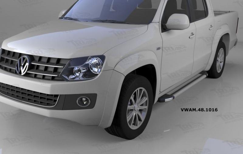 Пороги алюминиевые (Brillant) Volkswagen Amarok (Амарок) (2010-) (серебр), VWAM481016