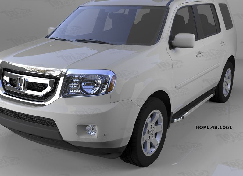 Пороги алюминиевые (Brillant) Honda (Хонда) Pilot (2008-2010/2010-) (черн/нерж), HOPL481061