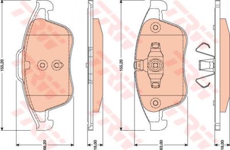 Колодки дисковые Передние, TRW, GDB1790