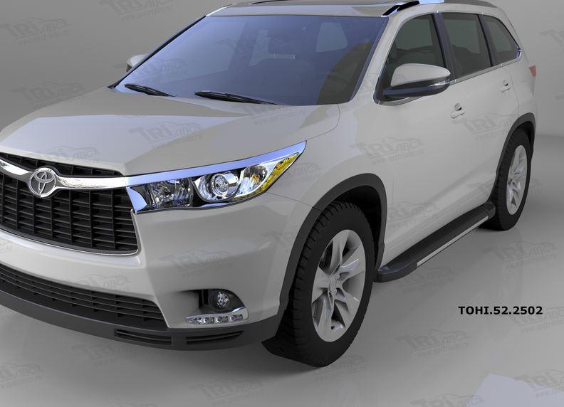 Пороги алюминиевые (Onyx) Toyota Highlander (Тойота Хайлендер) (2014-), TOHI522502
