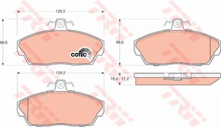 Колодки дисковые Передние, TRW, GDB1319