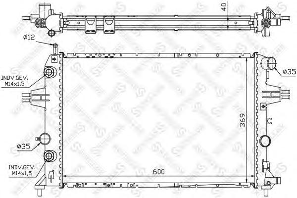 Радиатор системы охлаждения, STELLOX, 1025387SX