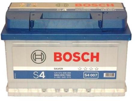 Аккумуляторная батарея Bosch S4 Silver, 12 В, 72 А/ч, 680 А, 0092S40070