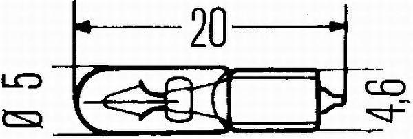 Лампа, 24 В, 1,2 Вт, W1,2W, W2x4,6d, HELLA, 8GP 002 095-241
