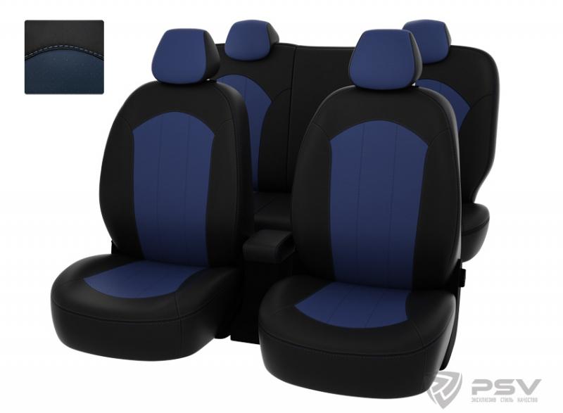 """Чехлы Hyundai Solaris 11-> H чер-син экокожа """"Оригинал"""", 124937"""