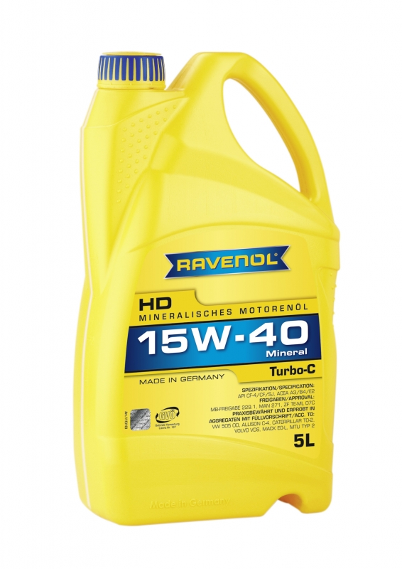 Моторное масло RAVENOL Turbo-C HD-C, 15W-40, 5 л, 4014835724556