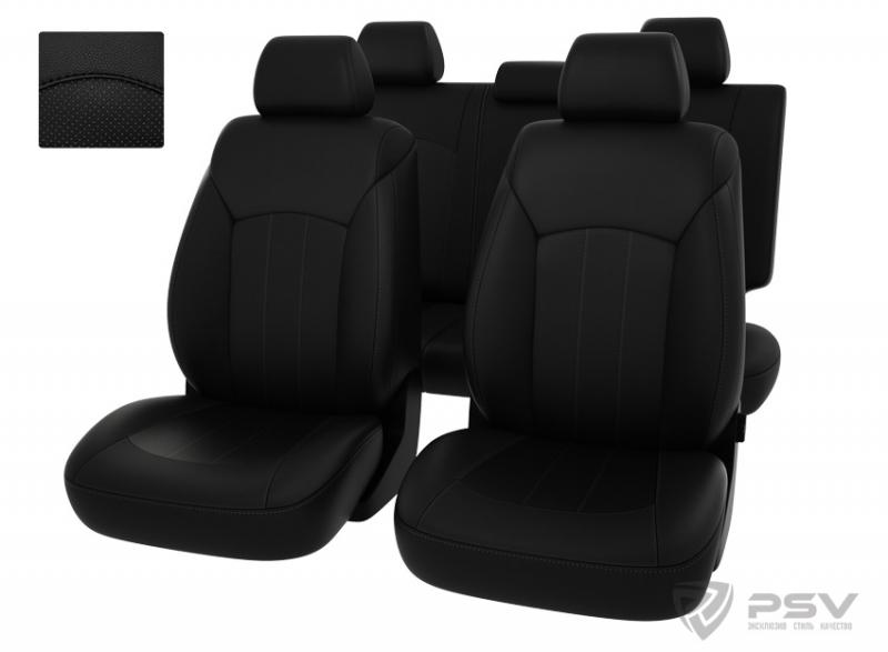 """Чехлы Chevrolet Cruze 5п/г черный/отстрочка черная, экокожа """"Оригинал"""", 124678"""