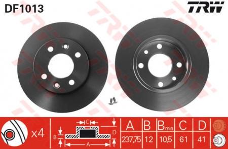 Диск тормозной передний, TRW, DF1013