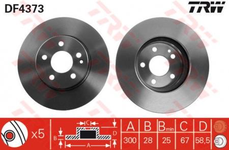 Диск тормозной передний, TRW, DF4373