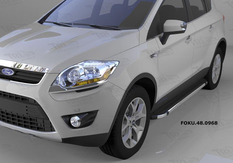 Пороги алюминиевые (Brillant) Ford Kuga (2008-2013) (черн./нерж.), FOKU480968