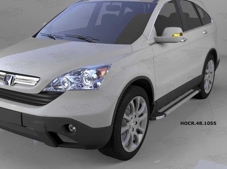 Пороги алюминиевые (Brillant) Honda (Хонда) CR-V (2007-2012) (серебр), HOCR481055