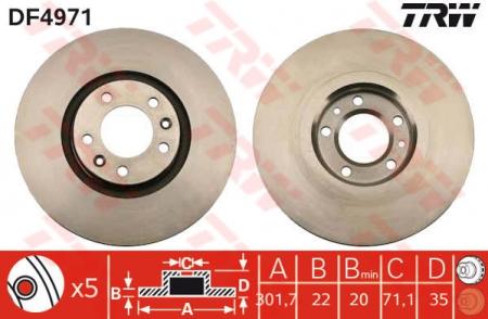 Диск тормозной задний, TRW, DF4971