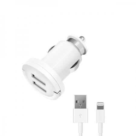 АЗУ 2 USB 2,1А, дата-кабель с разъемом 8-pin для Apple, белый, Ultra, Deppa, 11209