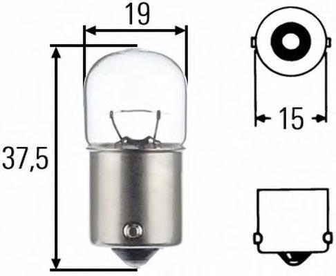 Лампа, 24 В, 10 Вт, R10W, BA15s, HELLA, 8GA 002 071-271